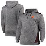 Men's Profile Heathered Charcoal/Brown Cleveland Browns Big & Tall Quarter-Zip Fleece Hoodie