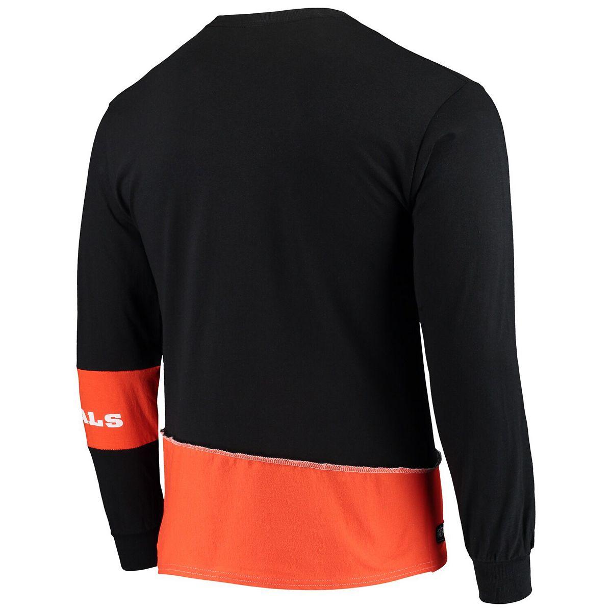 Men's Refried Apparel Black/Orange Cincinnati Bengals Upcycled Angle Long Sleeve T-Shirt nhNJj