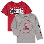 Toddler Crimson/Heathered Gray Indiana Hoosiers Club Short Sleeve and Long Sleeve T-Shirt Combo Set