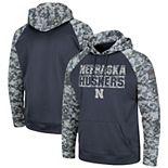 Youth Colosseum Charcoal Nebraska Cornhuskers OHT Military Appreciation Digi Camo Raglan Pullover Hoodie