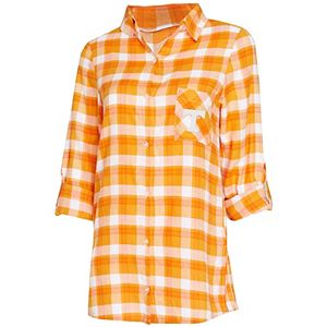 Women's Concepts Sport Tennessee Orange/White Tennessee Volunteers Plus Size Piedmont Flannel Long Sleeve Button-Up Nightshirt