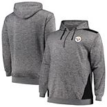 Men's Profile Heathered Charcoal/Black Pittsburgh Steelers Big & Tall Quarter-Zip Fleece Hoodie