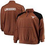 Men's Texas Orange Texas Longhorns Big & Tall Mesh Yoke Quarter-Zip Pullover Jacket