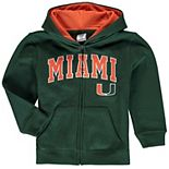 Toddler Green Miami Hurricanes Applique Arch & Logo Full-Zip Hoodie