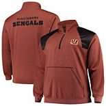 Men's Orange/Black Cincinnati Bengals Big & Tall Mesh Yoke Quarter-Zip Jacket
