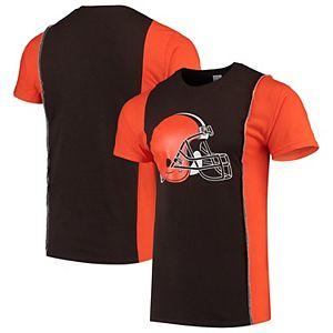 Men's Refried Apparel Brown/Orange Cleveland Browns Upcycled Split T-Shirt