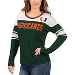 Women's G-III 4Her by Carl Banks Green/White Miami Hurricanes Interception Sleeve Stripe Long Sleeve T-Shirt