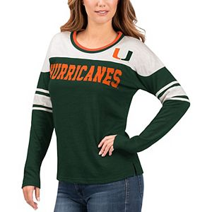 Women's G-III 4Her by Carl Banks Green/White Miami Hurricanes Interception Sleeve Stripe Long Sleeve T-Shirt