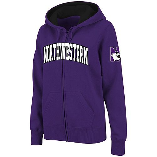 Women's Stadium Athletic Purple Northwestern Wildcats Arched Name Full Zip Hoodie