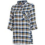 Women's Concepts Sport Navy/Gold Navy Midshipmen Piedmont Flannel Long Sleeve Button-Up Nightshirt