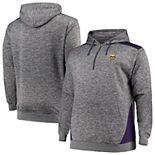 Men's Profile Heathered Charcoal/Purple Minnesota Vikings Big & Tall Quarter-Zip Fleece Hoodie
