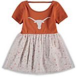 Girls Toddler Texas Orange/White Texas Longhorns Magdalene Tulle Overlay Dress