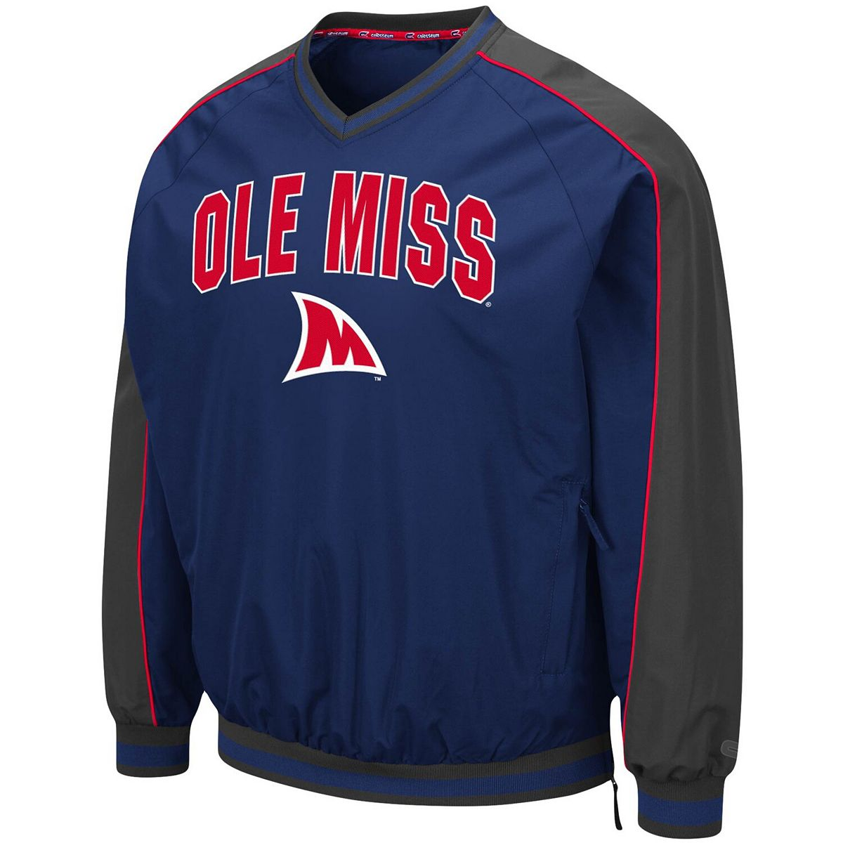 Men's Colosseum Navy Ole Miss Rebels Duffman Pullover Windbreaker irpa5