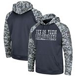 Youth Colosseum Charcoal Texas Tech Red Raiders OHT Military Appreciation Digi Camo Raglan Pullover Hoodie