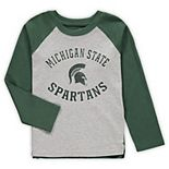 Preschool Heathered Gray Michigan State Spartans Air Raid Raglan Long Sleeve T-Shirt