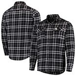 Men's Antigua Black/Gray Pittsburgh Steelers Stance Flannel Button-Up Long Sleeve Shirt