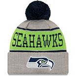 Youth New Era Gray Seattle Seahawks Stripe Cuffed Knit Hat with Pom
