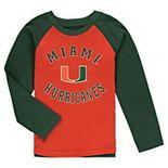 Preschool Orange Miami Hurricanes Air Raid Raglan Long Sleeve T-Shirt