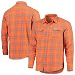 Men's Antigua Orange/Gray Miami Dolphins Stance Flannel Button-Up Long Sleeve Shirt