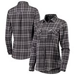 Women's Antigua Gray Philadelphia Eagles Stance Flannel Button-Up Long Sleeve Shirt