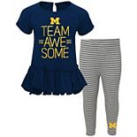 Girls Infant Navy Michigan Wolverines Awesome Dress & Pants Set