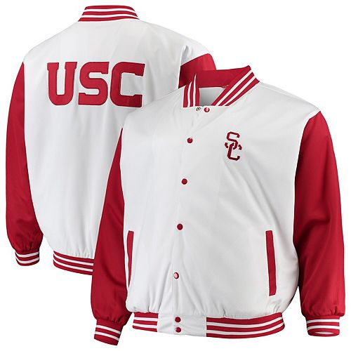 Men's White/Cardinal USC Trojans Big & Tall Varsity Birdseye Full-Snap Jacket