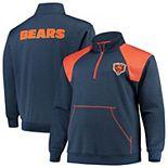 Men's Navy/Orange Chicago Bears Big & Tall Mesh Yoke Quarter-Zip Jacket