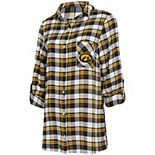 Women's Concepts Sport Black/Gold Iowa Hawkeyes Piedmont Flannel Long Sleeve Button-Up Nightshirt