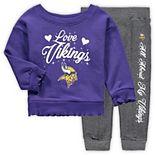 Girls Toddler Purple/Charcoal Minnesota Vikings Touchdown Love Long Sleeve T-Shirt & Pant Set