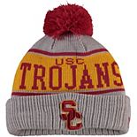 Youth New Era Gray USC Trojans Striped Cuffed Knit Hat with Pom