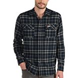 Men's Antigua Navy/Gray Denver Broncos Stance Flannel Button-Up Long Sleeve Shirt