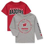 Toddler Red/Heathered Gray Wisconsin Badgers Club Short Sleeve and Long Sleeve T-Shirt Combo Set