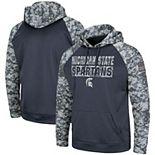 Men's Colosseum Charcoal/Camo Michigan State Spartans Big & Tall OHT Military Appreciation Digi Camo Raglan Pullover Hoodie