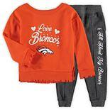 Girls Preschool Orange/Charcoal Denver Broncos Touchdown Love Long Sleeve T-Shirt & Pants Set