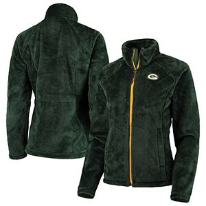 Women's G-III 4Her by Carl Banks Green Green Bay Packers Field Goal Fleece Full-Zip Jacket