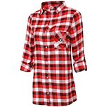 Women's Concepts Sport Red/Black Georgia Bulldogs Plus Size Piedmont Flannel Long Sleeve Button-Up Nightshirt