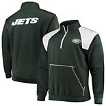 Men's Green/White New York Jets Big & Tall Mesh Yoke Quarter-Zip Jacket