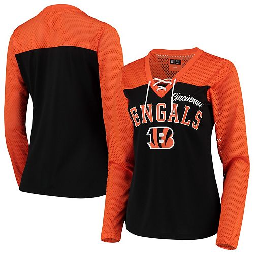 Women's G-III 4Her by Carl Banks Orange/Black Cincinnati Bengals Laces Out Long Sleeve V-Neck T-Shirt