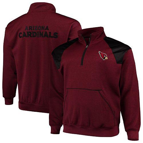 Men's Cardinal/Black Arizona Cardinals Big & Tall Mesh Yoke Quarter-Zip Jacket