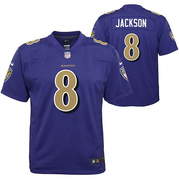 Youth Nike Lamar Jackson Purple Baltimore Ravens Color Rush Player Game Jersey