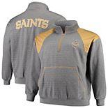 Men's Charcoal/Vegas Gold New Orleans Saints Big & Tall Mesh Yoke Quarter-Zip Jacket