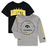 Toddler Black/Heathered Gray Iowa Hawkeyes Club Short Sleeve and Long Sleeve T-Shirt Combo Set