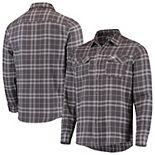 Men's Antigua Green/Gray Philadelphia Eagles Stance Flannel Button-Up Long Sleeve Shirt