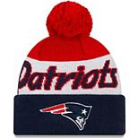 Youth New Era White/Navy New England Patriots Script Cuffed Knit Hat with Pom