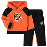 Toddler Orange/Black Cincinnati Bengals Sideline Fleece Raglan Pullover Hoodie & Pants Set