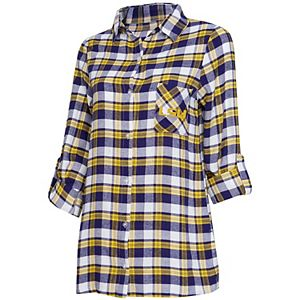 Women's Concepts Sport Purple/Gold LSU Tigers Plus Size Piedmont Flannel Long Sleeve Button-Up Nightshirt