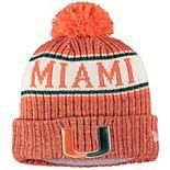 Youth New Era Orange Miami Hurricanes Sport Knit Hat with Pom
