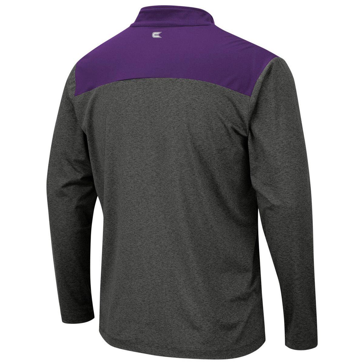 Men's Colosseum Heathered Charcoal TCU Horned Frogs Snowball Windshirt Quarter-Zip Pullover Jacket uzQ3M