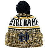 Youth New Era Navy Notre Dame Fighting Irish Sport Knit Hat with Pom