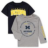 Toddler Navy/Heathered Gray Michigan Wolverines Club Short Sleeve and Long Sleeve T-Shirt Combo Set